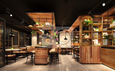 Fototapete 3d rende render luxury restaurant cafe