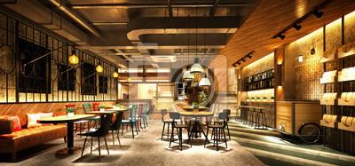 Fototapete 3d render cafe restaurant