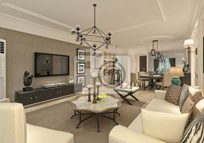 3d Render Of Modern Living Room Fototapete Fototapeten Prestige