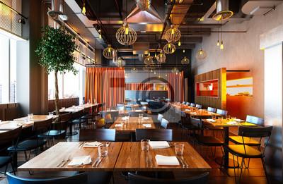 Fototapete 3d render of restaurant interior