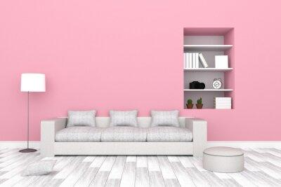 Fototapete 3D Rendering: Abbildung Der Modernen Wohnzimmer Interieur Mit  Weißen Sofa Möbel Gegen Rosa