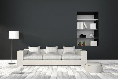 Fototapete 3D Rendering: Darstellung Der Modernen Wohnzimmer Interieur Mit  Weißen Sofa Möbel Gegen Matt
