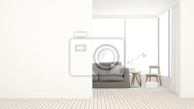 Fototapete 3D Rendering Die Innenraum Entspannen Raum Möbel Und Hintergrund Weiß  Dekoration Minimal   Leeren