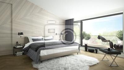 Fototapete: 3d-rendering eines modernen luxuriösen schlafzimmer mit einem