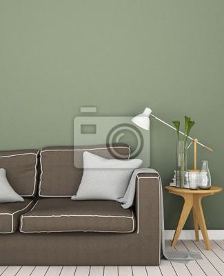 Fototapete 3D Rendering Interieur Entspannen Raum Möbel Und Hintergrund Dekoration  Minimal Im Hotel   Wand