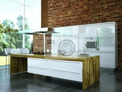 3d rendering küche weiß mit holz fototapete • fototapeten Toilette ...