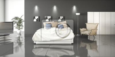 Fototapete: 3d-rendering-loft-stil schlafzimmer