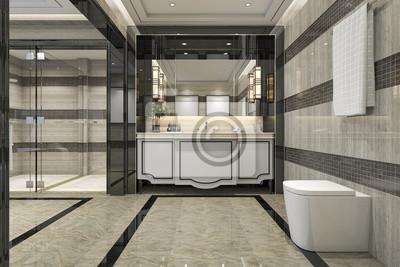 Fototapete 3D Rendering Modernen Loft Badezimmer Mit Luxus Fliesen Dekor