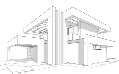 Fototapete 3d rendering of modern cozy house with pool and parking for sale or rent in luxurious style. Black line sketch with soft light shadows on white background