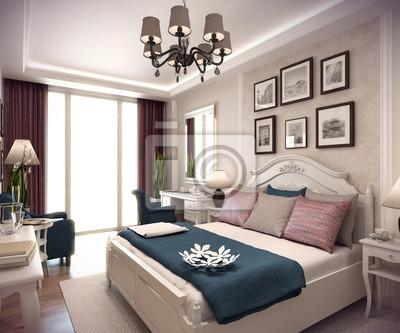 Fototapete: 3d-rendering schlafzimmer haus in den bergen