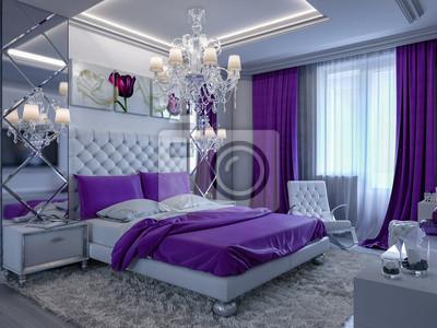 Fototapete 3D Rendering Schlafzimmer Mit Lila Akzenten