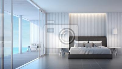 3d-rendering schlafzimmer villa blick aufs meer und himmel ...