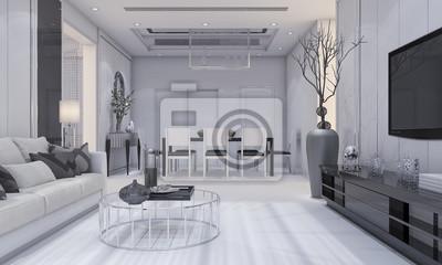 3d rendering schöne moderne design luxus wohnzimmer und esszimmer ...