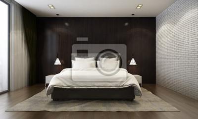 Fototapete 3D Rendering Von Schlafzimmer Design