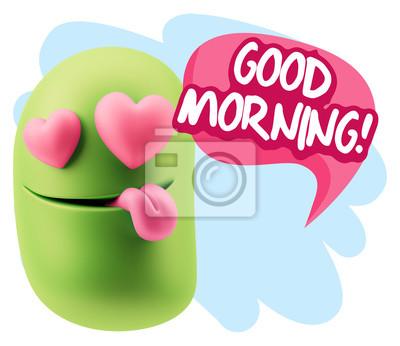 3d Rendern Emoji In Der Liebe Mit Herz Augen Sagen Guten Morgen