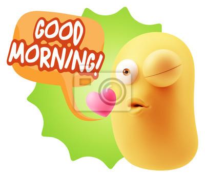 3d Rendern Kuss Emoticon Gesicht Sagen Guten Morgen Mit