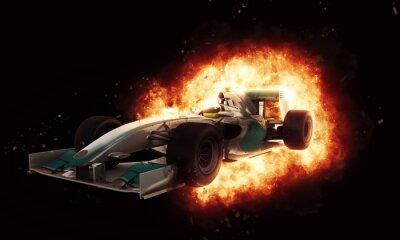 Fototapete 3D-Rennwagen mit feurigen Explosionseffekt