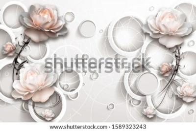 Fototapete 3D Rings and Flowers wallpaper