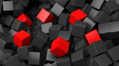 Fototapete 3D schwarzen und roten Würfeln Stapel abstrakten Hintergrund