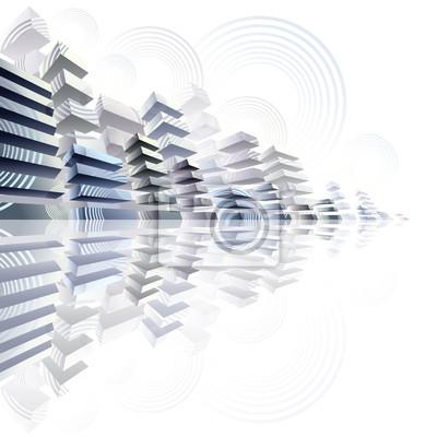 Fototapete 3d städtischen Futurismus Bild, Vektor-Stadtpanorama Illustration.