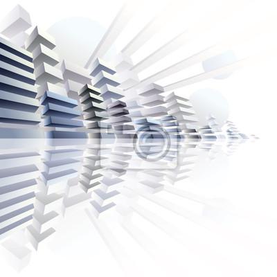 Fototapete 3d städtischen Futurismus, Vektor-Stadtpanorama Illustration.