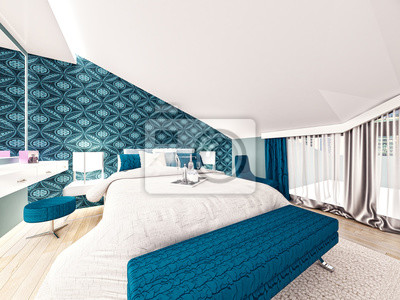 Fototapete 3D Schlafzimmer | 3d Ubertragen Vom Blau Entworfenen Schlafzimmer Fototapete