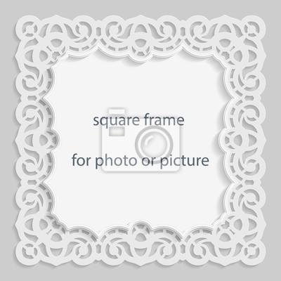 3d vector basrelief quadratischen rahmen für foto oder bild ...