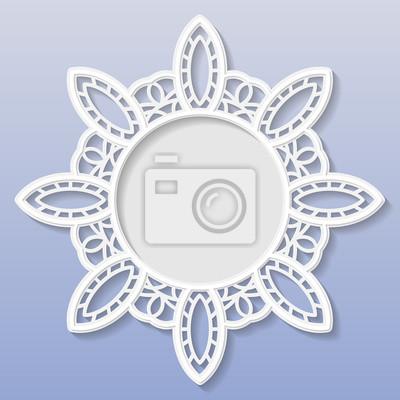 3d vector basrelief-rahmen, vignette mit ornamenten, lace frame ...