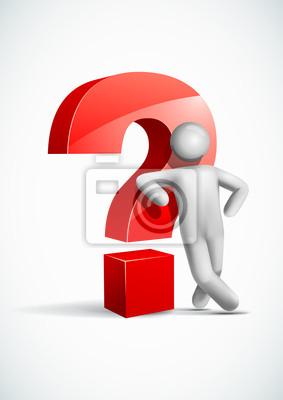 3D-Vektor-Mann lehnt Fragezeichen-Symbol.
