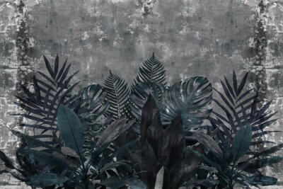 Fototapete 3d wallpaper, blue leaves of houseplants on concrete wall textured background. The original panel will turn your room in with the most recent world trends in interior fashion.