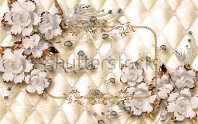 Fototapete 3d wallpaper design with ceramic jewels and flowers for photomural