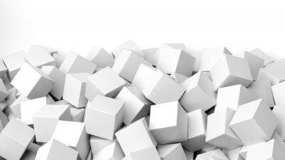 Fototapete 3D weiße Würfel Haufen, isoliert auf weiß mit Kopie-Raum