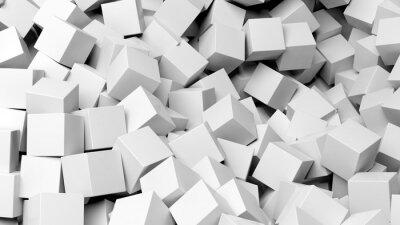 Fototapete 3D weißen Würfel Stapel abstrakten Hintergrund