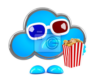 Fototapete 3D Wolke isst popcor an der 3D-Film