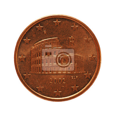 5 Cent Münze Europäische Union Isoliert über Weiß Fototapete
