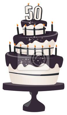 50 geburtstag clipart kuchen mit glitzernden schwarzen glasur fototapete fototapeten - Kuchenspiegel mit fototapete ...
