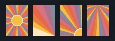Fototapete 60s, 70s, 80s retro banners set. Colorful retrowave striped vintage sun burst