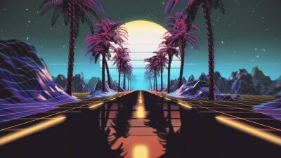 Fototapete 80s retro futuristic sci-fi background. Retrowave VJ videogame landscape with neon lights and low poly terrain grid. Stylized vintage cyberpunk vaporwave 3D render with mountains, sun and stars. 4K
