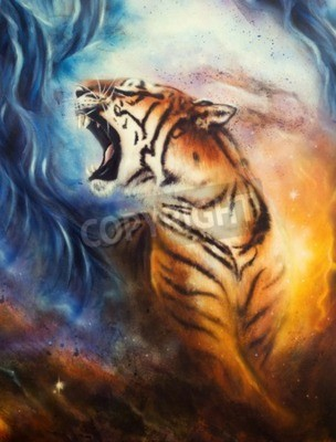 Fototapete A beautiful airbrush painting of a roaring tiger on a abstract cosmical background
