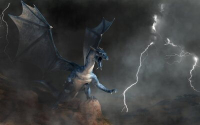 Fototapete A blue dragon, a beast of myth and legend. Scaly and serpentine with bat-like wings, blues are known for spitting lightning. On a cliff in a storm. 3D Rendering