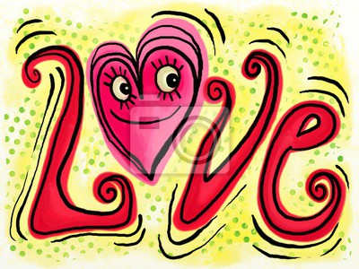 A cartoon paint doodle of a happy pink love heart with text.