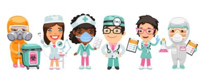 Fototapete A group of cartoon doctor characters with different specializations stand on a white background. Biohazard cargo transporter, beautician, nurse, therapist and pharmacist. Flat style.