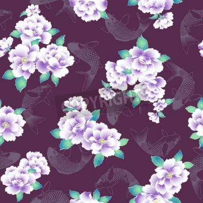 Fototapete A Japanese style peony pattern.