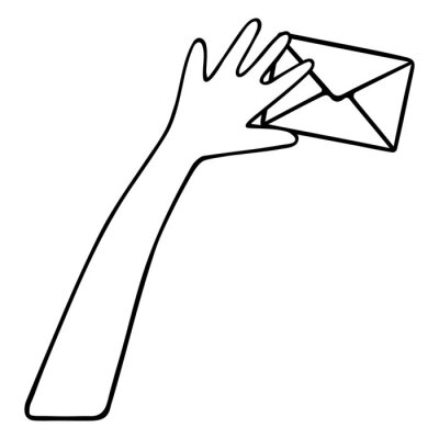 A letter in an envelope and a hand. Delivery of the message to the addressee. Email. Vector illustration. Contour on an isolated white background. Doodle style. Sketch. Newsletter.