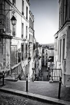 Fototapete A little street in Montmartre  Paris, France