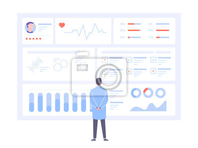 Fototapete A male doctor is standing back to us in front of a big data screen. Diagnosis of diseases, medical tests, effective treatment. Dashboard with patient health information. Vector illustration.