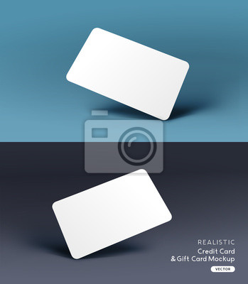 Fototapete A realistic business credit / gift card placeholder mockup stationary layout with shadow effects. Vector illustration