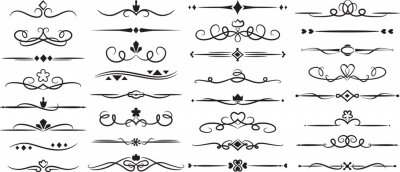 Fototapete A set of vector ornaments. Floral and classic frames and patterns. A set of elements for graphic design. set of elements