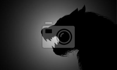 Fototapete A werewolf lurking in the dark