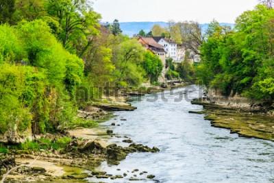 Fototapete Aare-Fluss in Brugg-Stadt in der Schweiz